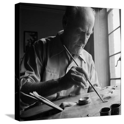 Artist Lyonel Feininger at Work-Andreas Feininger-Stretched Canvas Print