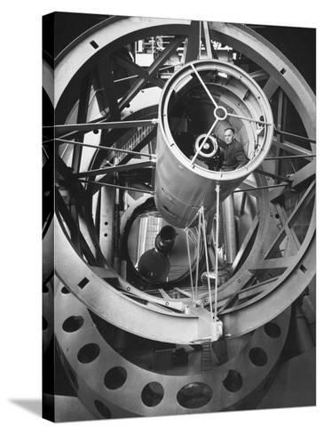 Astronomer Edwin Hubble Pictured Inside the Workings of the Huge 200 In. Mt. Palomar Telescope-J^ R^ Eyerman-Stretched Canvas Print