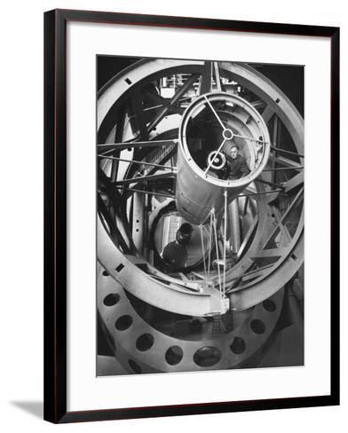 Astronomer Edwin Hubble Pictured Inside the Workings of the Huge 200 In. Mt. Palomar Telescope-J^ R^ Eyerman-Framed Art Print