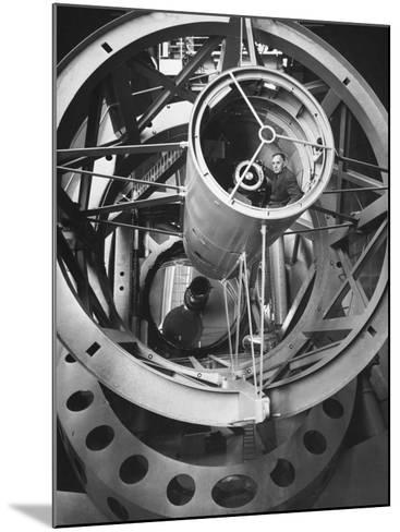 Astronomer Edwin Hubble Pictured Inside the Workings of the Huge 200 In. Mt. Palomar Telescope-J^ R^ Eyerman-Mounted Photographic Print