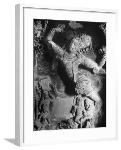 Carving of Sita in the Ellora Caves-Eliot Elisofon-Framed Art Print