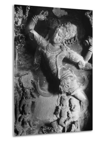 Carving of Sita in the Ellora Caves-Eliot Elisofon-Metal Print