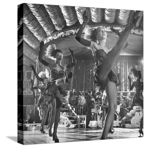 Chorus Girls Dancing During Show at Latin Quarter-George Silk-Stretched Canvas Print