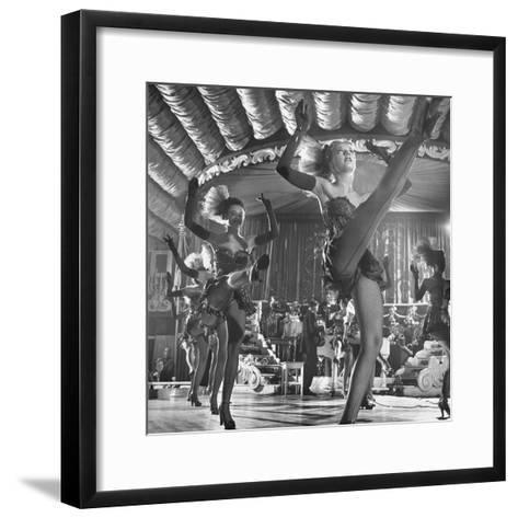 Chorus Girls Dancing During Show at Latin Quarter-George Silk-Framed Art Print