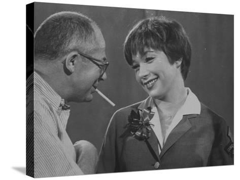 Movie Director Billy Wilder with Actress Shirley MacLaine on Set During Filming of The Apartment-Grey Villet-Stretched Canvas Print