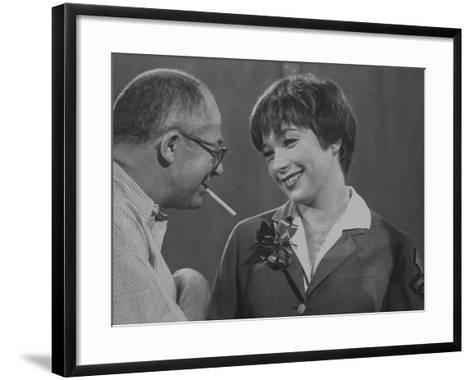 Movie Director Billy Wilder with Actress Shirley MacLaine on Set During Filming of The Apartment-Grey Villet-Framed Art Print