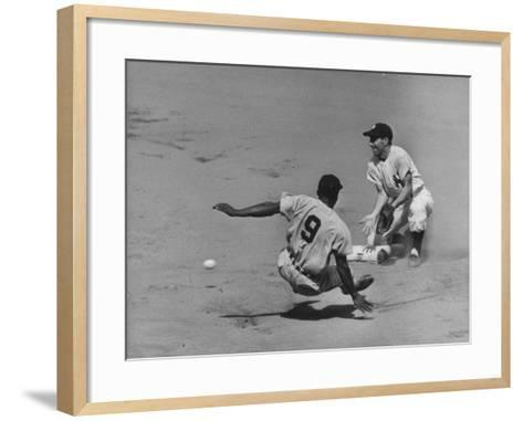 Yankee Phil Rizzuto Waiting to Catch the Ball During the American League Pennant Race-Grey Villet-Framed Art Print