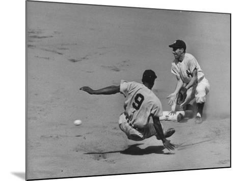Yankee Phil Rizzuto Waiting to Catch the Ball During the American League Pennant Race-Grey Villet-Mounted Premium Photographic Print
