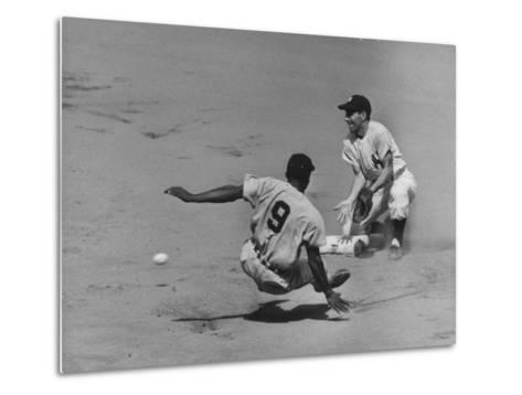 Yankee Phil Rizzuto Waiting to Catch the Ball During the American League Pennant Race-Grey Villet-Metal Print