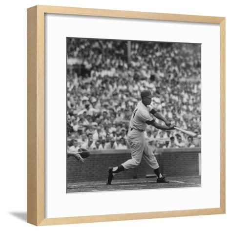 Action Shot of Chicago Cub's Ernie Banks Smacking the Pitched Baseball-John Dominis-Framed Art Print