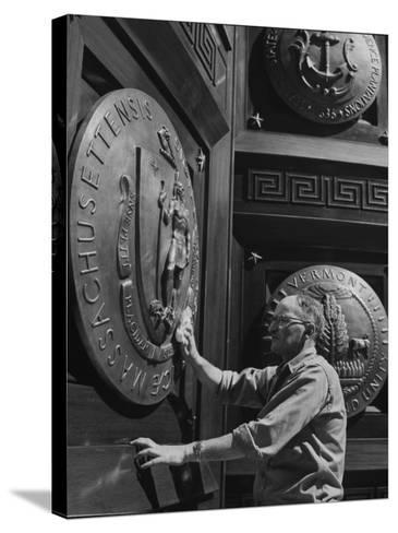 Door of Federal Reserve Bank with Seals of the 6 New England States-Allan Grant-Stretched Canvas Print