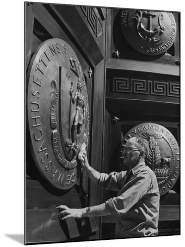 Door of Federal Reserve Bank with Seals of the 6 New England States-Allan Grant-Mounted Photographic Print