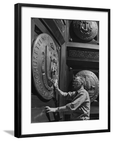 Door of Federal Reserve Bank with Seals of the 6 New England States-Allan Grant-Framed Art Print