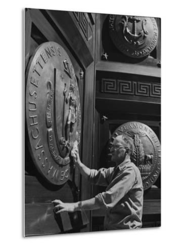 Door of Federal Reserve Bank with Seals of the 6 New England States-Allan Grant-Metal Print