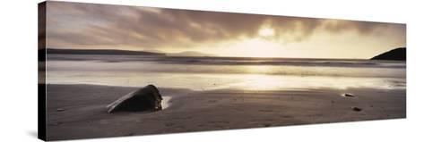 Sunset over the Sea, Whitesand Bay, Pembrokeshire, Wales--Stretched Canvas Print