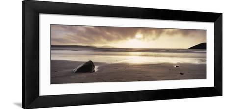 Sunset over the Sea, Whitesand Bay, Pembrokeshire, Wales--Framed Art Print