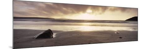 Sunset over the Sea, Whitesand Bay, Pembrokeshire, Wales--Mounted Photographic Print