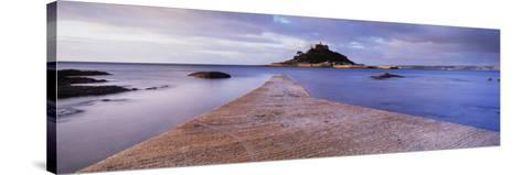 Jetty over the Sea, St. Michael's Mount, Marazion, Cornwall, England--Stretched Canvas Print