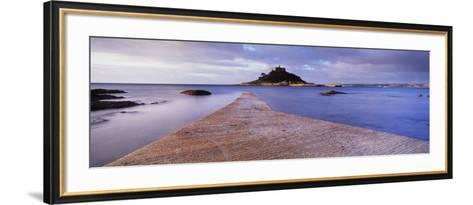 Jetty over the Sea, St. Michael's Mount, Marazion, Cornwall, England--Framed Art Print
