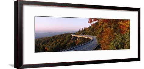 Curved Road over Mountains, Linn Cove Viaduct, Blue Ridge Parkway, North Carolina, USA--Framed Art Print