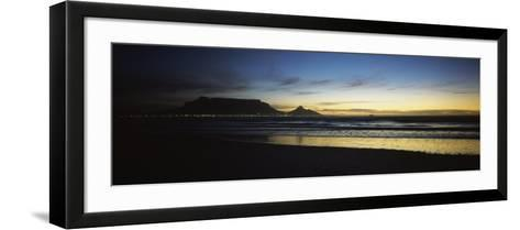 Silhouette of Table Mountain at Sunset, Table Bay, Bloubergstrand, Cape Winelands, South Africa--Framed Art Print