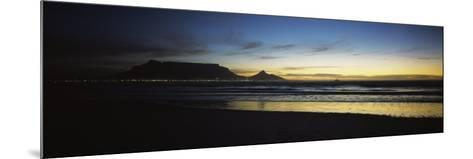 Silhouette of Table Mountain at Sunset, Table Bay, Bloubergstrand, Cape Winelands, South Africa--Mounted Photographic Print