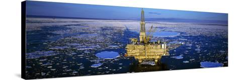 Oil Production Platform in Icy Water, Cook Inlet, Trading Bay, Alaska, USA--Stretched Canvas Print