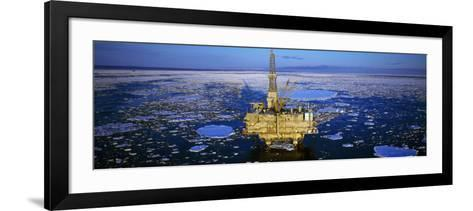 Oil Production Platform in Icy Water, Cook Inlet, Trading Bay, Alaska, USA--Framed Art Print