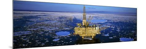Oil Production Platform in Icy Water, Cook Inlet, Trading Bay, Alaska, USA--Mounted Photographic Print