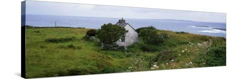 Coastal Landscape with White Stone House, Galway Bay, the Burren Region, Ireland--Stretched Canvas Print