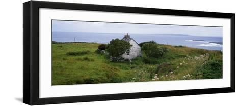 Coastal Landscape with White Stone House, Galway Bay, the Burren Region, Ireland--Framed Art Print