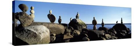 Stacked Rocks on the Beach, Stanley Park, Vancouver, British Columbia, Canada--Stretched Canvas Print