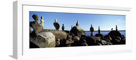 Stacked Rocks on the Beach, Stanley Park, Vancouver, British Columbia, Canada--Framed Art Print