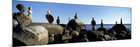 Stacked Rocks on the Beach, Stanley Park, Vancouver, British Columbia, Canada--Mounted Photographic Print