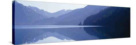 Reflection of a Mountain in a Lake, Lake Crescent, Olympic National Park, Washington State, USA--Stretched Canvas Print