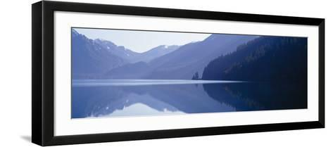 Reflection of a Mountain in a Lake, Lake Crescent, Olympic National Park, Washington State, USA--Framed Art Print