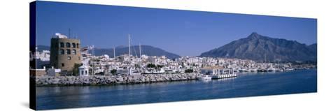 Boats at a Harbor, Puerto Banus, Marbella, Costa Del Sol, Andalusia, Spain--Stretched Canvas Print