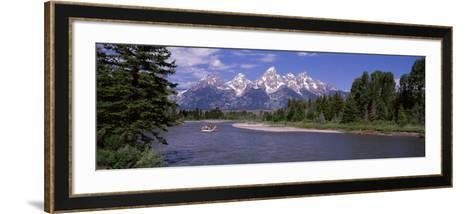 Inflatable Raft in a River, Grand Teton National Park, Wyoming, USA--Framed Art Print