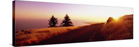 Sunset over the Mountain, Mt Tamalpais, Marin County, California, USA--Stretched Canvas Print
