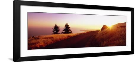 Sunset over the Mountain, Mt Tamalpais, Marin County, California, USA--Framed Art Print