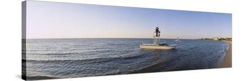 Fishermen Sitting on a Fishing Boat, Ocracoke Island, Hyde County, North Carolina, USA--Stretched Canvas Print