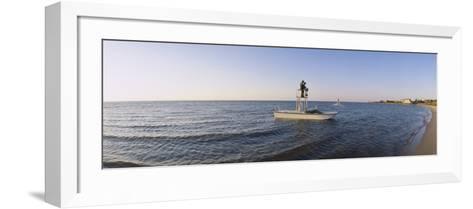 Fishermen Sitting on a Fishing Boat, Ocracoke Island, Hyde County, North Carolina, USA--Framed Art Print