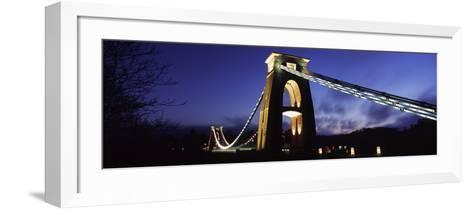 Suspension Bridge Lit Up at Night, Clifton Suspension Bridge, Avon Gorge, Bristol, England--Framed Art Print