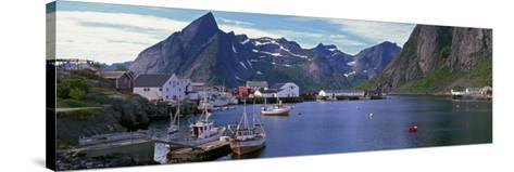 Boats and Cottages in Reine Harbour, Lofoten Islands, Norway--Stretched Canvas Print