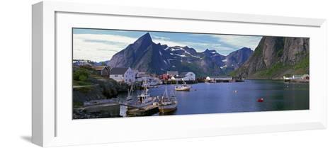 Boats and Cottages in Reine Harbour, Lofoten Islands, Norway--Framed Art Print