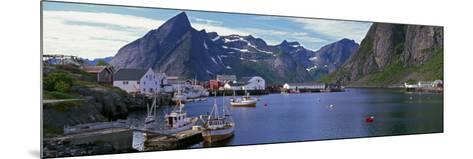 Boats and Cottages in Reine Harbour, Lofoten Islands, Norway--Mounted Photographic Print