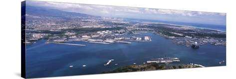 Aerial View of a Harbor, Pearl Harbor, Honolulu, Oahu, Hawaii, USA--Stretched Canvas Print