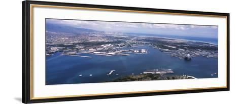 Aerial View of a Harbor, Pearl Harbor, Honolulu, Oahu, Hawaii, USA--Framed Art Print
