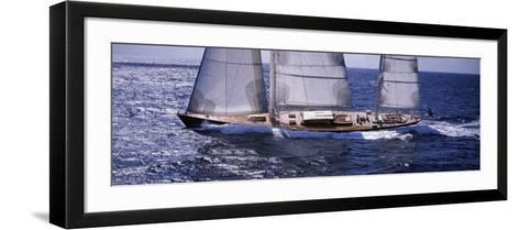 Sailboat in the Sea, Antigua--Framed Art Print