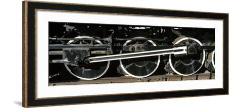 Wheels of a Steam Engine on the Railroad Track, Flagstaff, Coconino County, Arizona, USA--Framed Art Print